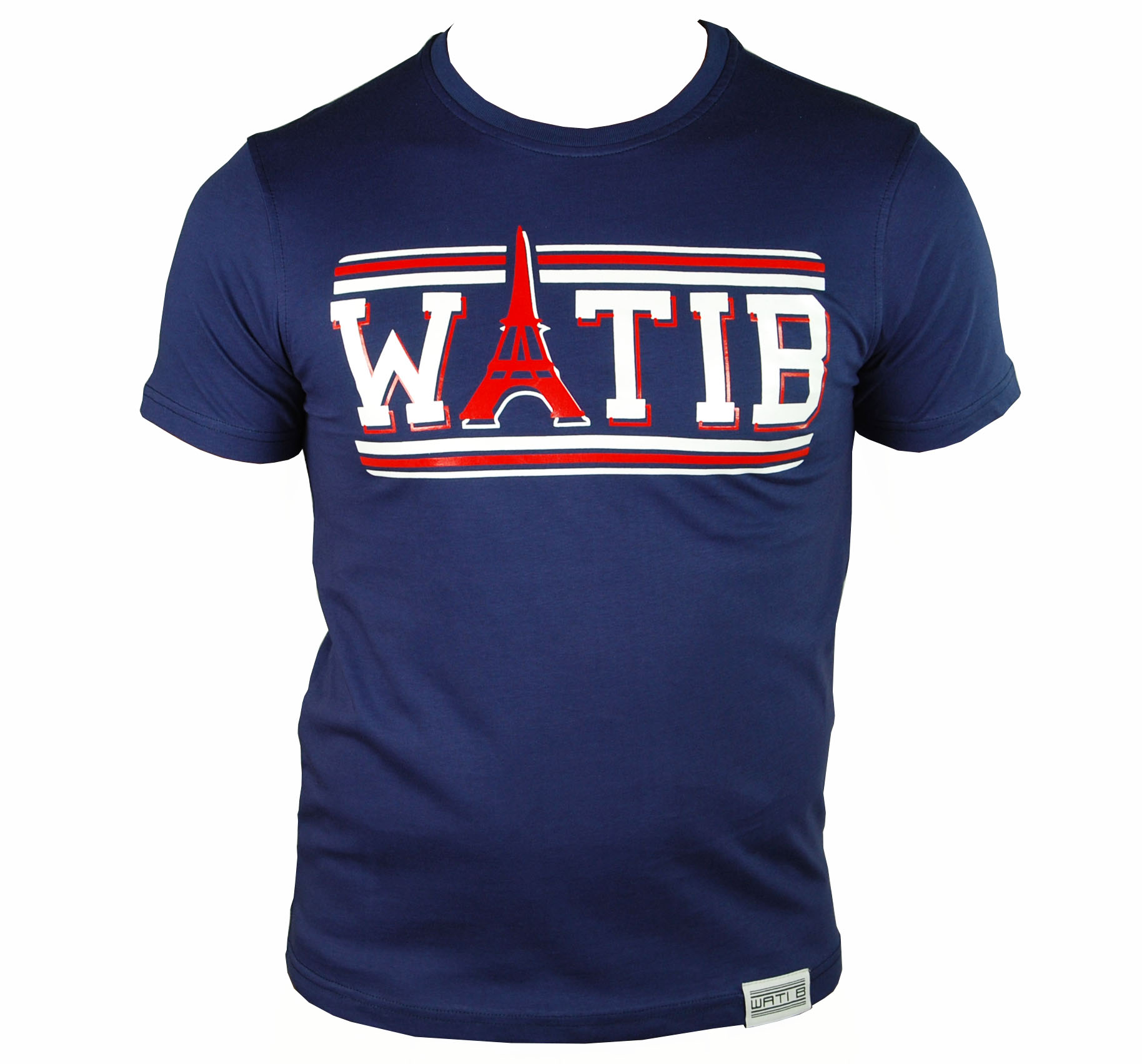 t shirt wati b enfant bleu marine rouge paris tour. Black Bedroom Furniture Sets. Home Design Ideas